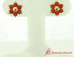 Flower Stud Earrings With Topaz