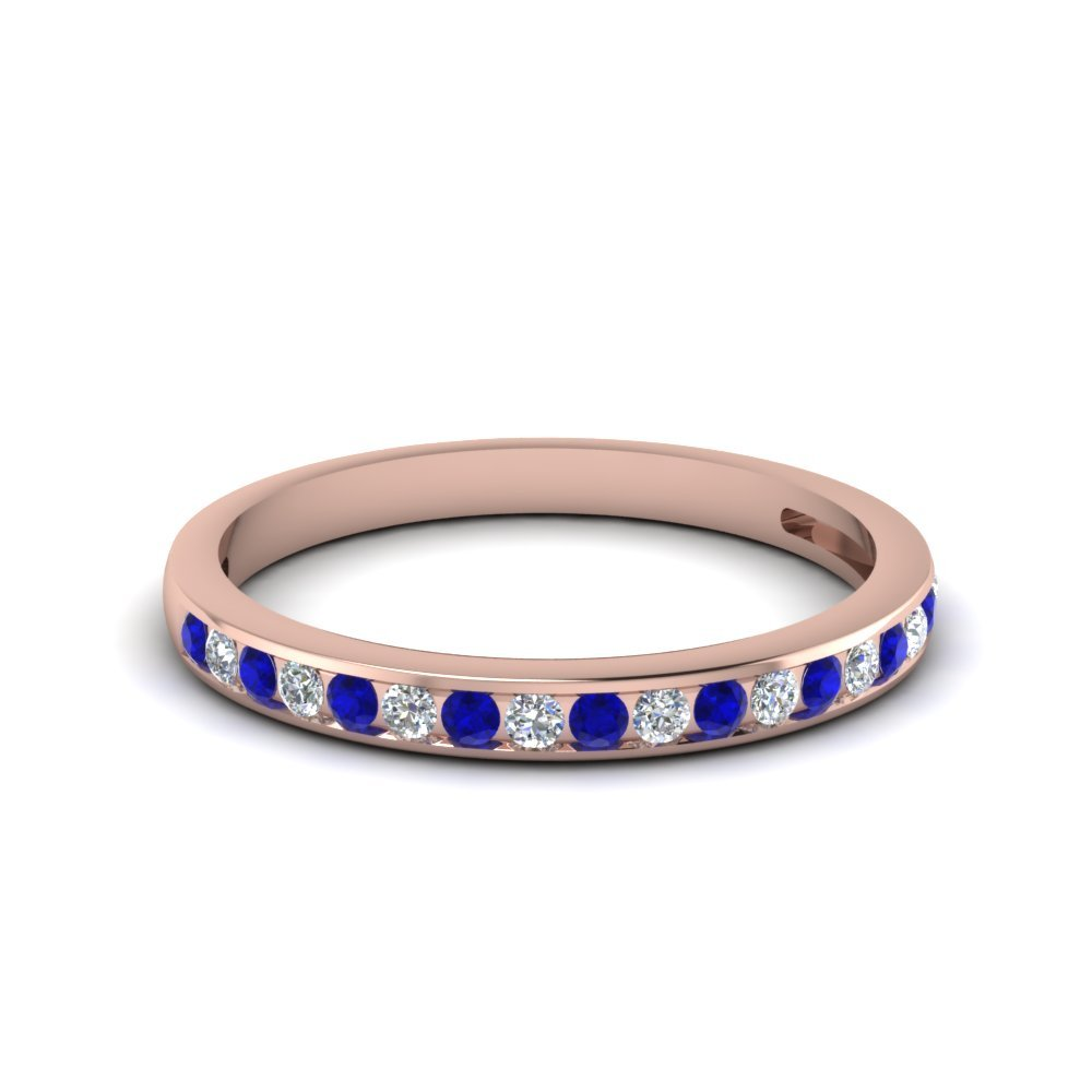 Channel Set Sapphire Wedding Bands