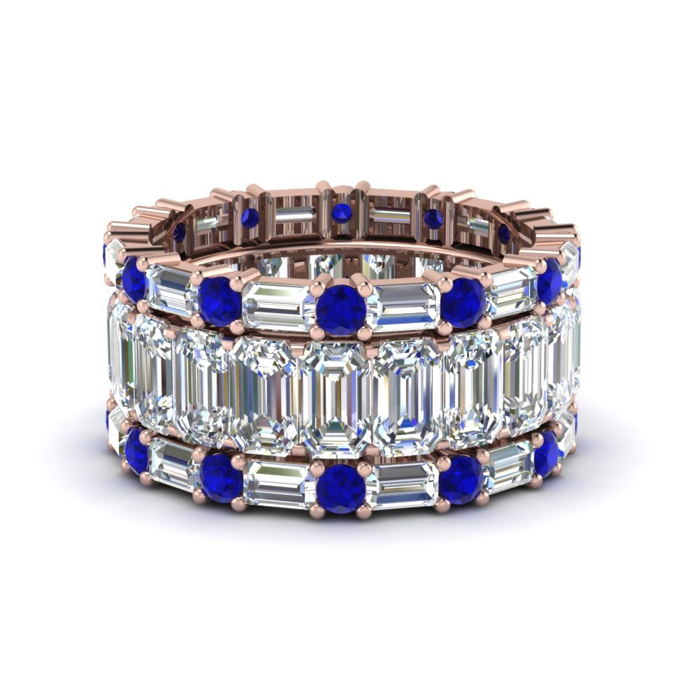 Emerald cut sapphire Wedding Bands