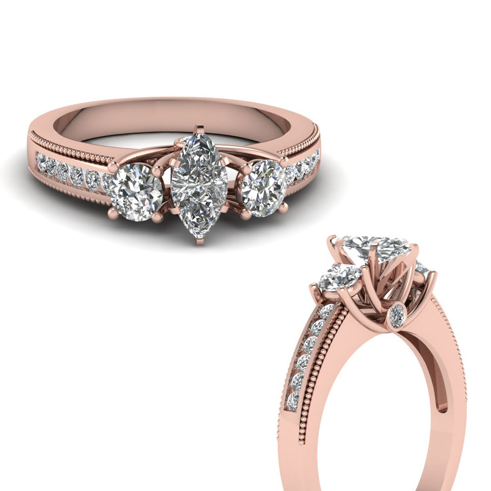 Milgrain Low Profile Engagement Ring