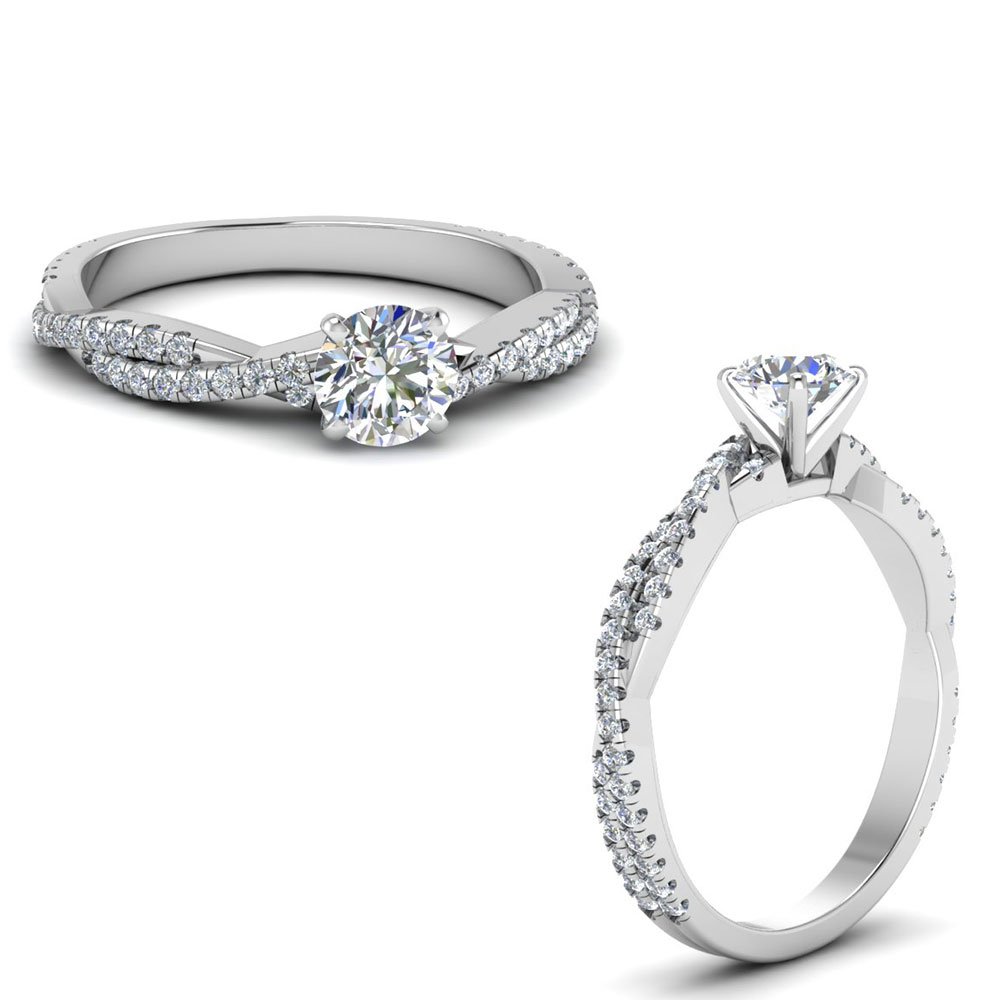 Twisted Vine Low Profile Engagement Ring