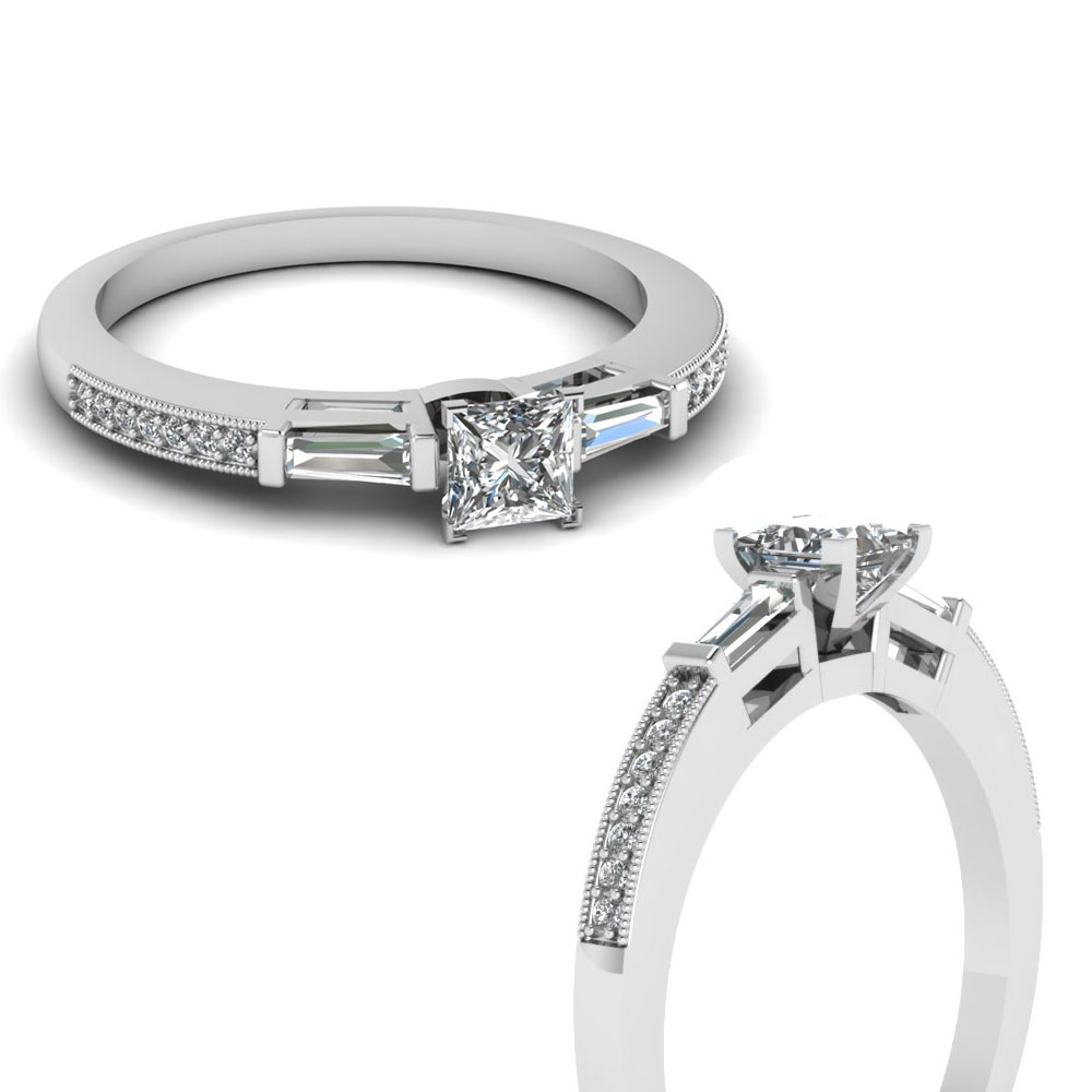 Low Profile Bar Engagement Ring