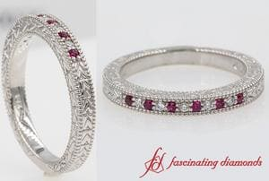 Art Deco Pave Diamond Wedding Band With Ruby In White Gold