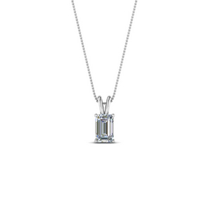0.25 Ct. Emerald Cut Diamond Solitaire Pendant In 14K White Gold