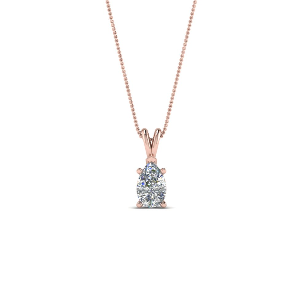 0.25 Ct. Diamond Pear Pendant In 14K Rose Gold