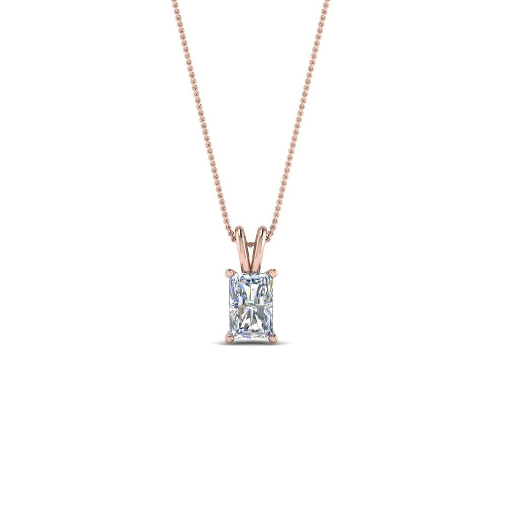 0.25 Ct. Diamond Radiant Pendant In 14K Rose Gold