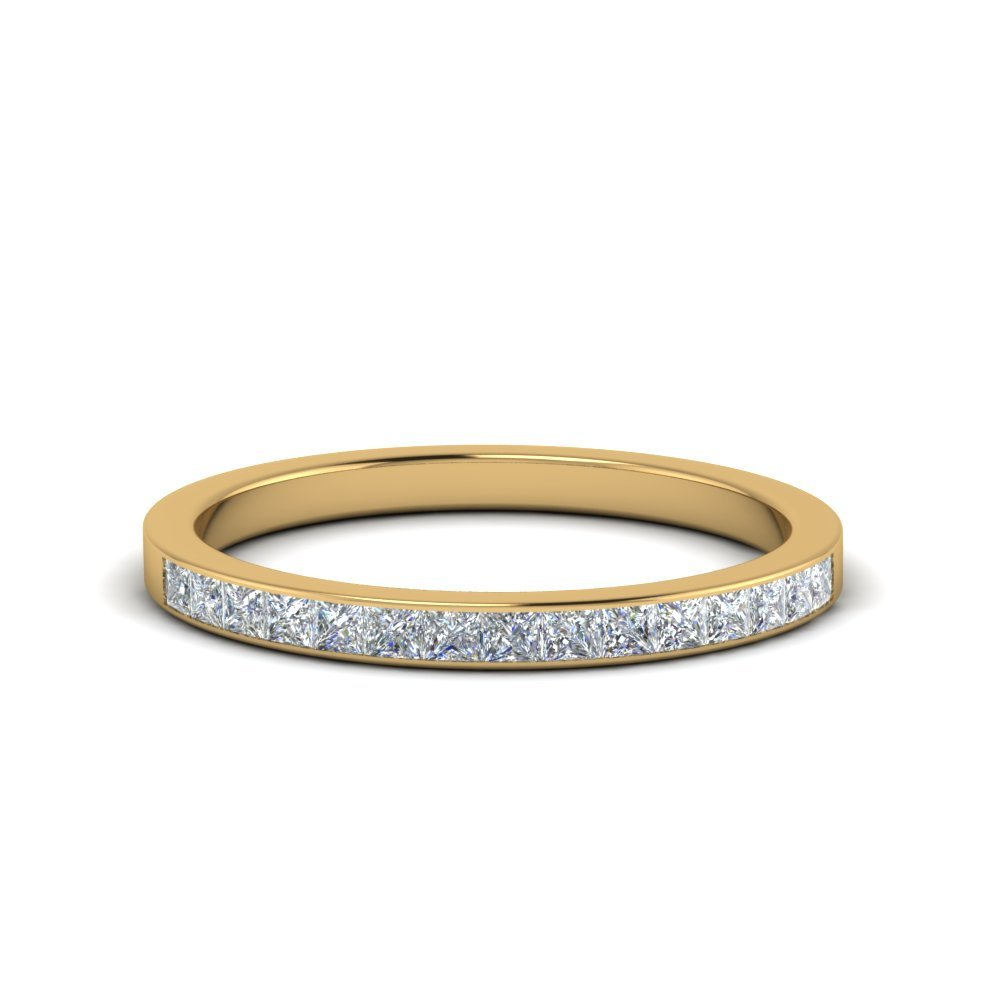0.25 Ct. Princess Diamond Channel Wedding Band In 14K Yellow Gold