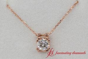 0.30 Carat Round Diamond Solitaire Pendant In Rose Gold