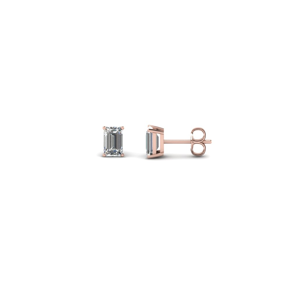 0.35 Ct. Emerald Cut Stud Earring