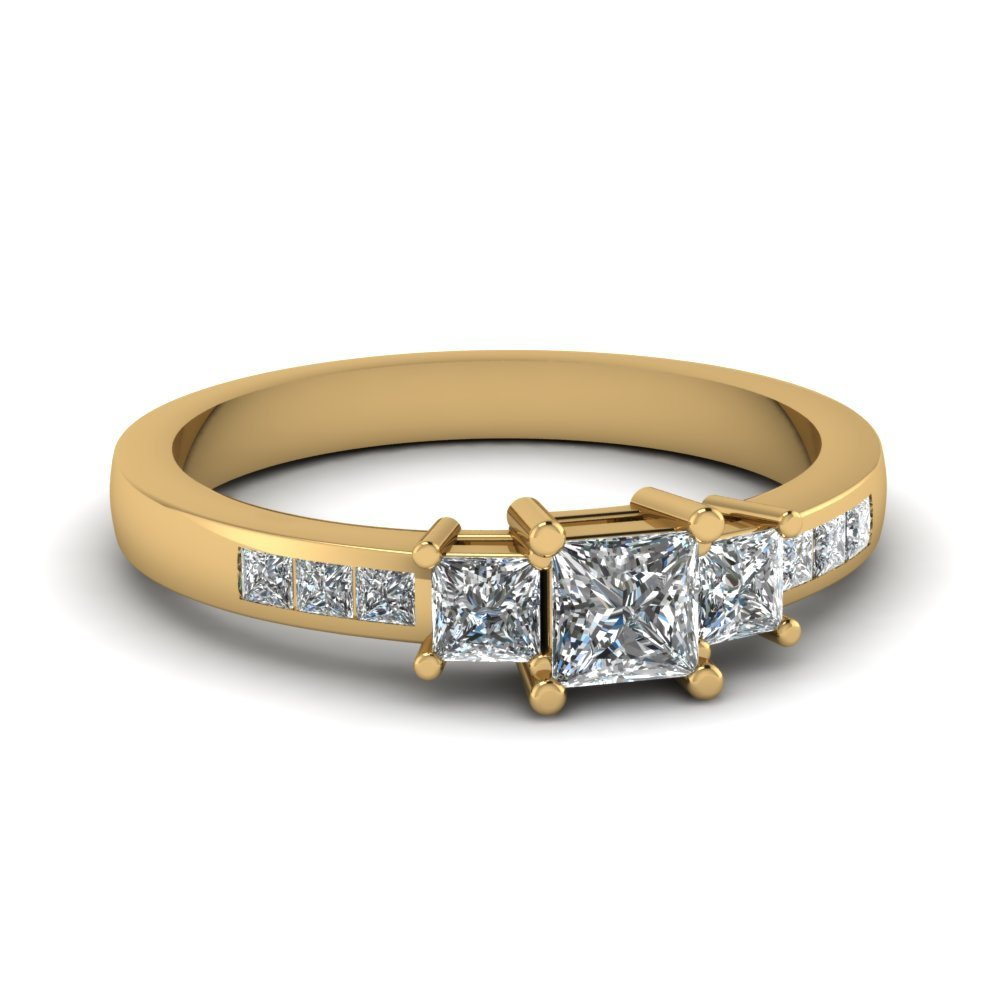 3/4 Ctw. Princess Diamond Accent 3 Stone Ring