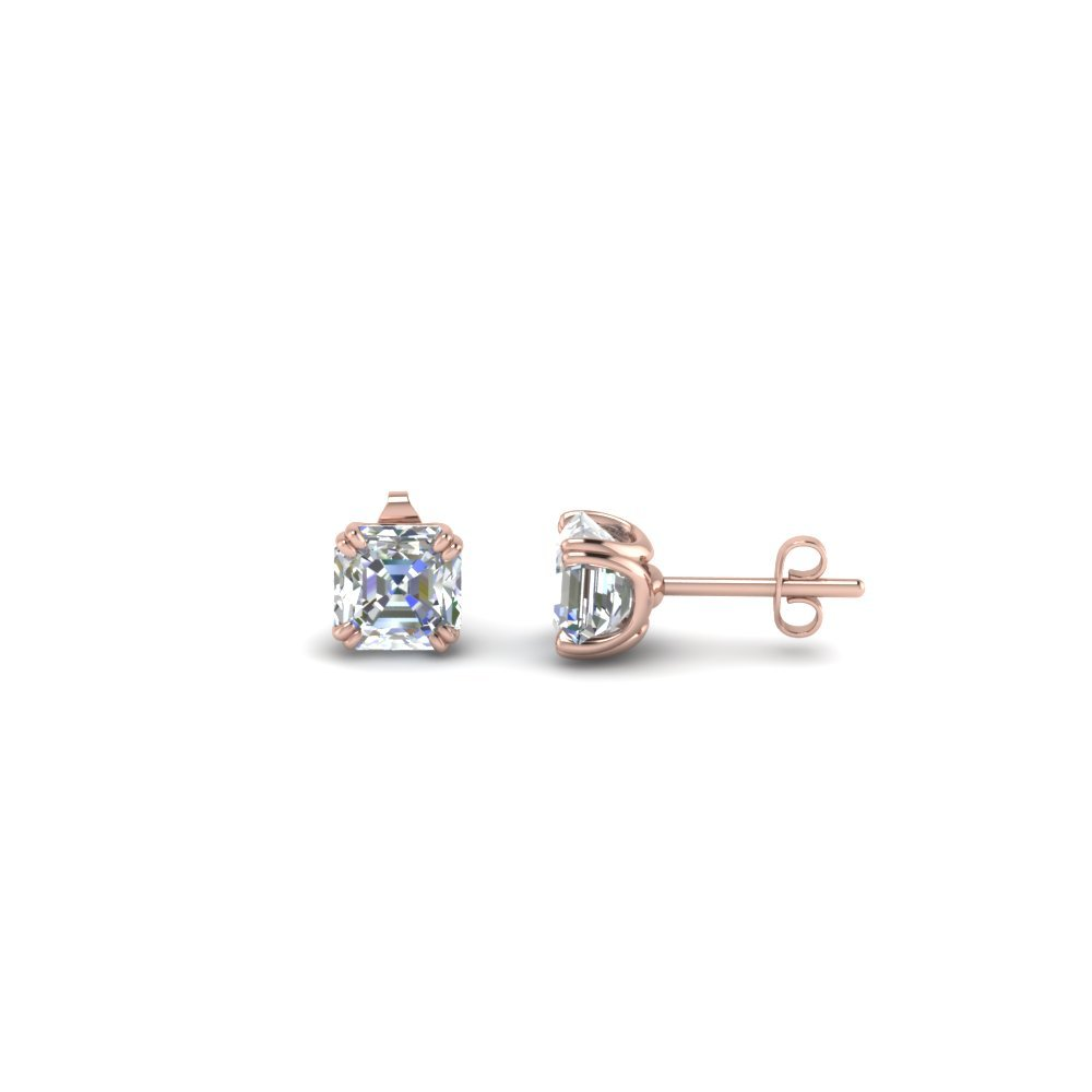0.5 Carat Asscher Single Diamond Earring In 14K Rose Gold