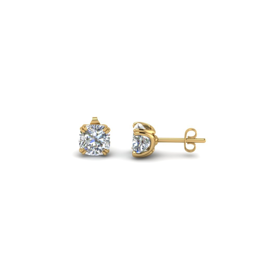 1 2 Ct Cushion Cut Diamond Earrings 18k Yellow Gold