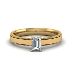 0.5 Carat Diamond Milgrain Emerald Cut Solitaire Engagement Ring In 14K Yellow Gold
