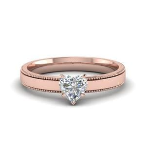 0.5 Carat Diamond Milgrain Heart Shaped Solitaire Engagement Ring In 18K Rose Gold