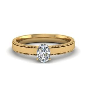 0.5 Carat Diamond Milgrain Oval Shaped Solitaire Engagement Ring In 18K Yellow Gold