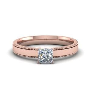 0.5 Carat Diamond Milgrain Princess Cut Solitaire Engagement Ring In 14K Rose Gold