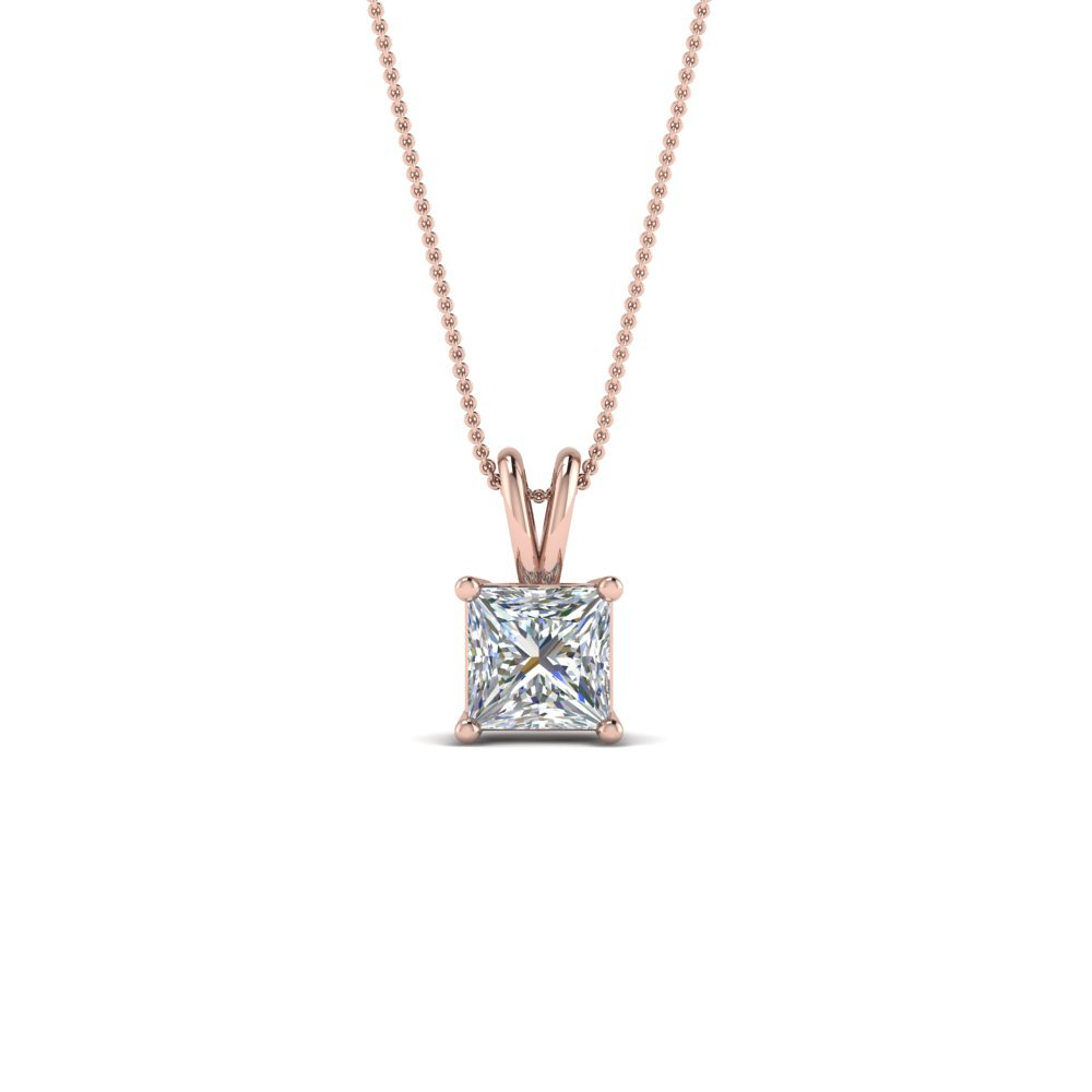 18K Rose Gold 0.5 Ct. Diamond Princess Cut Necklace