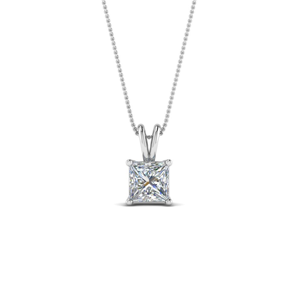 0.5 Carat Princess Cut Solitaire Necklace 18K White Gold
