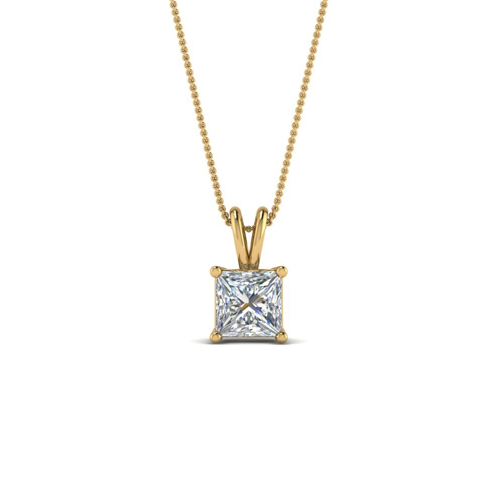 0.50 Ctw. Princess Cut Pendant 18K Yellow Gold