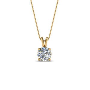 0.5 Ct. Diamond Round Solitaire Necklace In 14K Yellow Gold