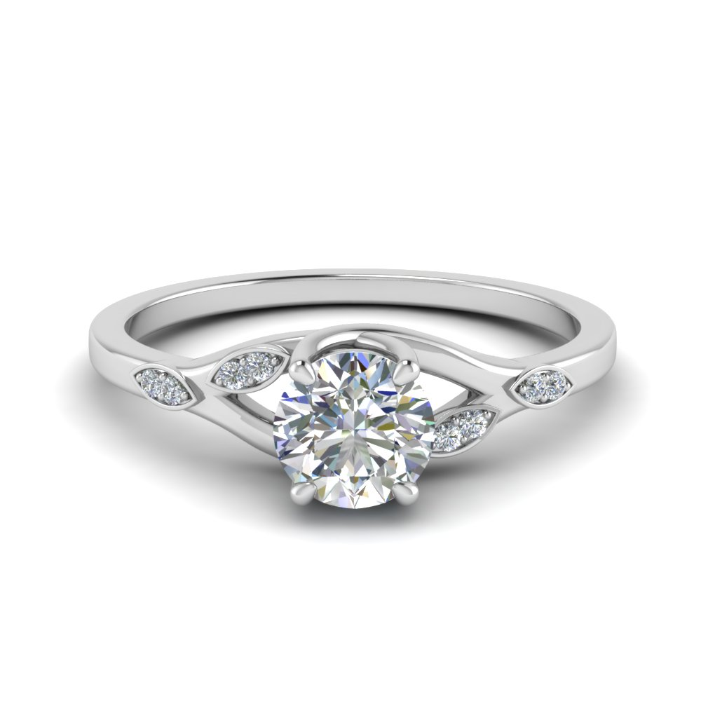 0.50 Ct. Diamond Branch Petite Engagement Ring In 14K White Gold