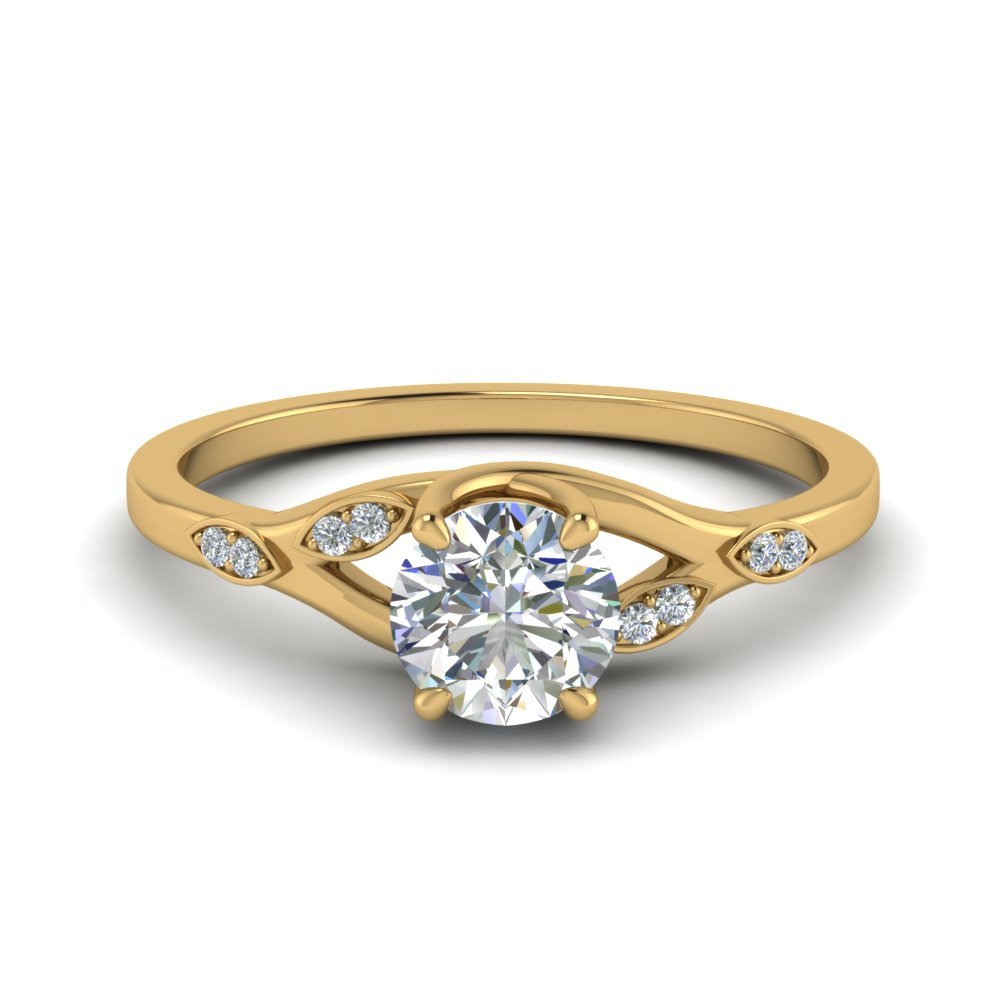 0.50 Ct. Diamond Branch Petite Engagement Ring In 14K Yellow Gold