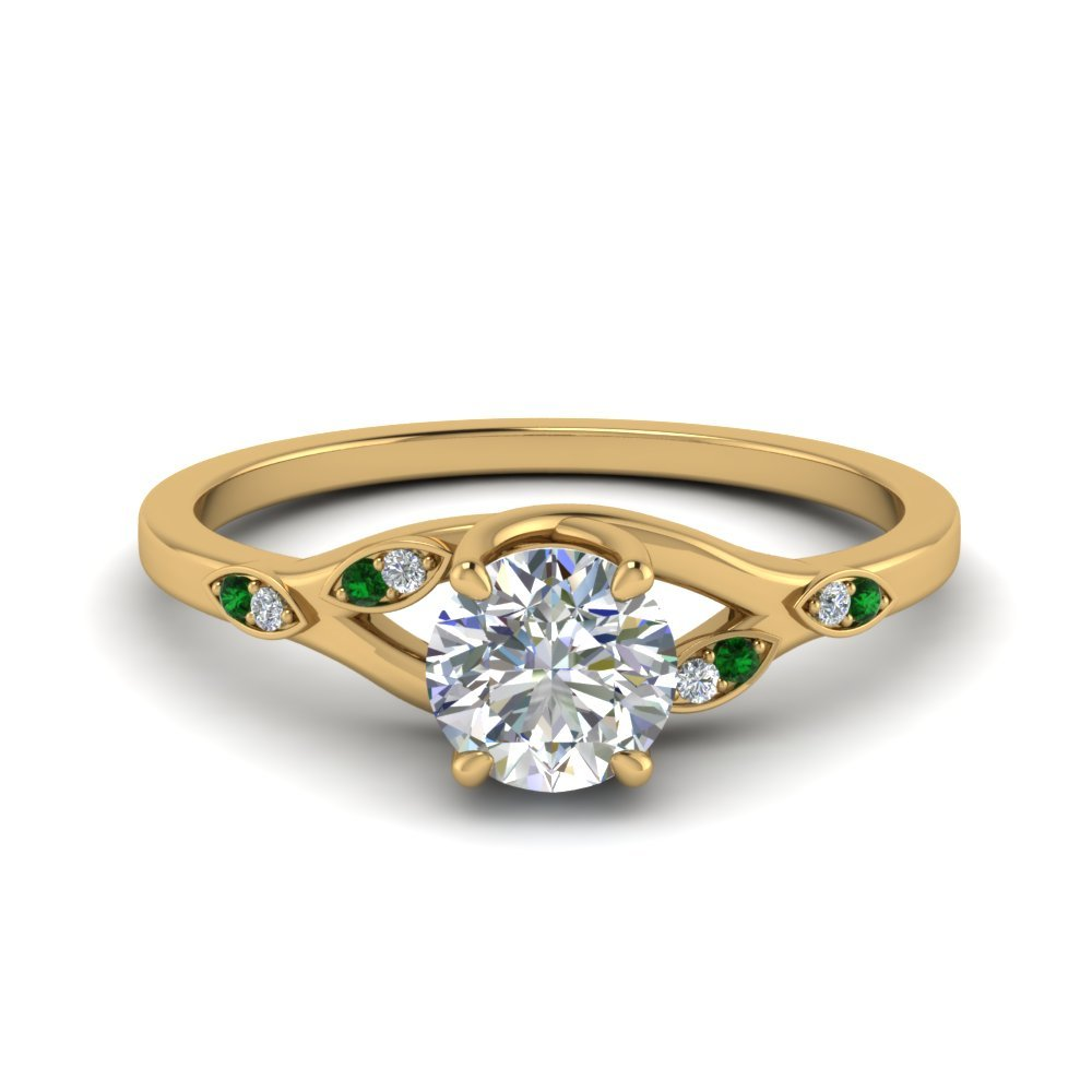 Emerald Nature Inspired Wedding Ring