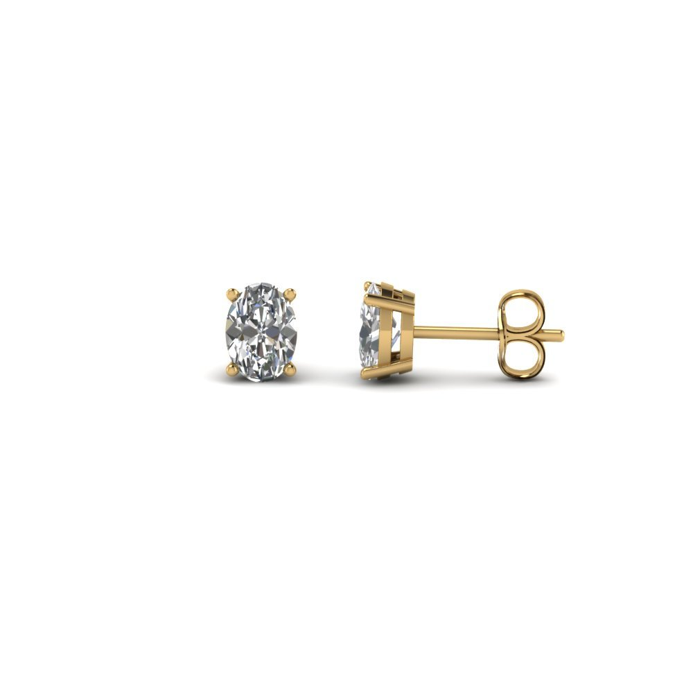 0.50 Ct. Oval Shaped Diamond Stud Earring In 14K Yellow Gold