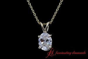 Oval Diamond Solitaire Pendant In White Gold