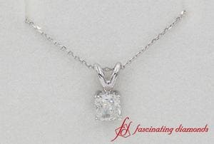 0.50 Ct. Cushion Diamond Solitaire Pendant In White Gold