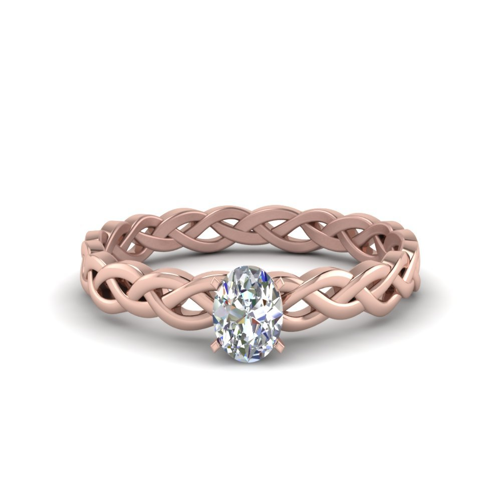 0.50 Carat Diamond Braided Oval Shaped Solitaire Engagement Ring In 14K Rose Gold