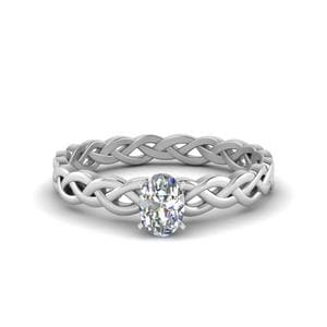 0.50 Carat Diamond Braided Oval Shaped Solitaire Engagement Ring In 14K White Gold