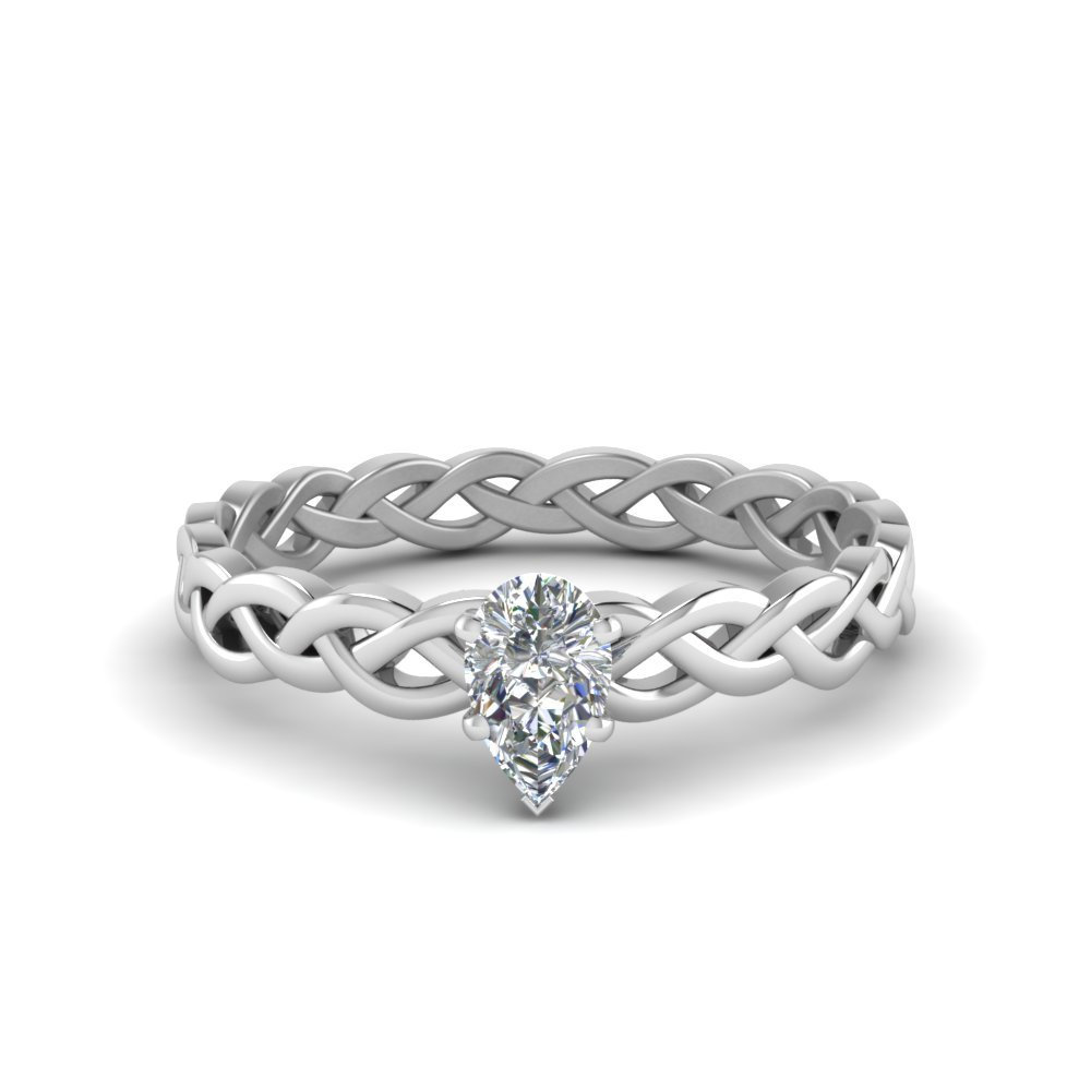 Half Carat Diamond Braided pear shaped Solitaire Ring