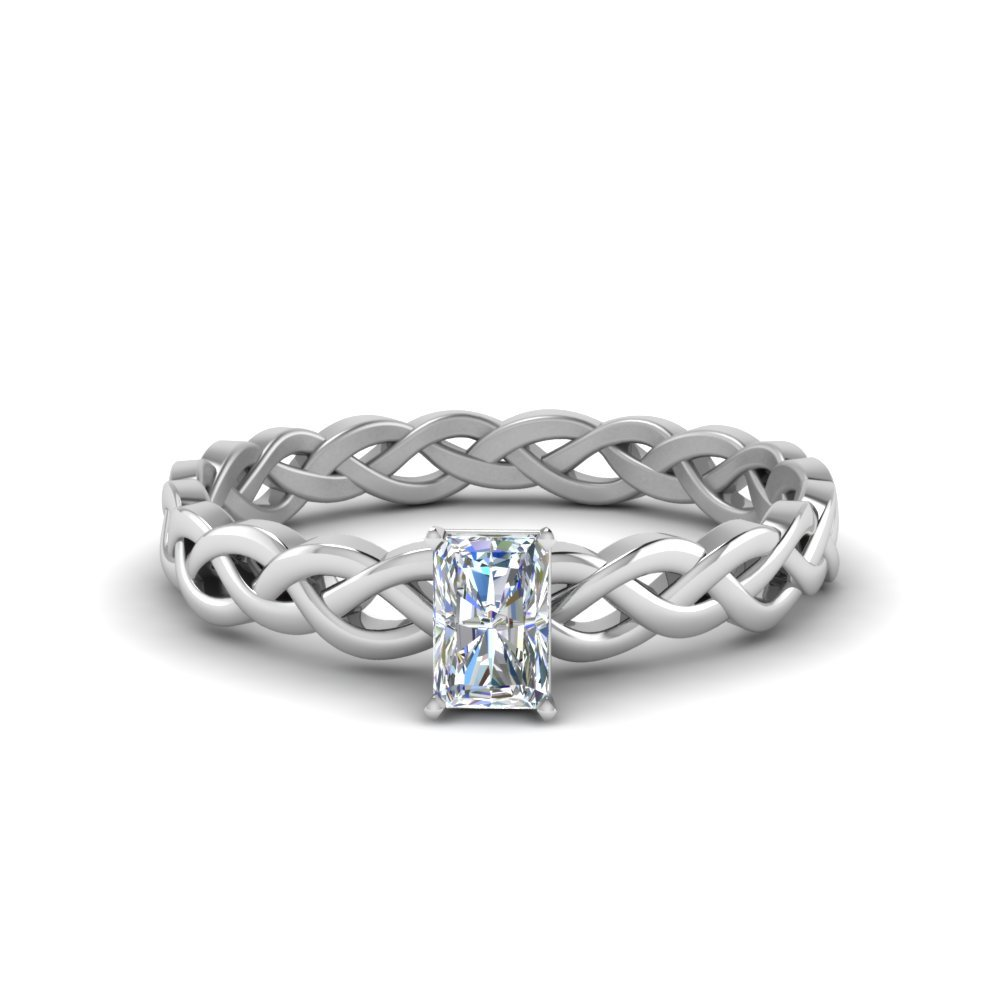 1/2 Carat Diamond Braided radiant cut Solitaire Ring