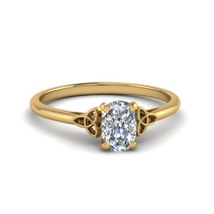 0.50 Carat Diamond Cushion Cut Irish Solitaire Engagement Ring In 14K Yellow Gold