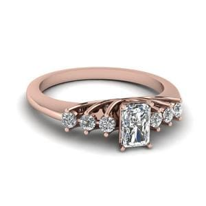 0.50 Carat Diamond Floating Radiant Cut Engagement Ring In 18K Rose Gold