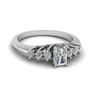 0.50 Carat Diamond Floating Radiant Cut Engagement Ring In 18K White Gold