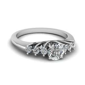0.50 Carat Diamond Floating Round Cut Engagement Ring In 14K White Gold