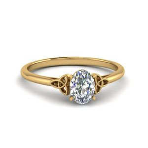 0.50 Carat Diamond Oval Shaped Irish Solitaire Engagement Ring In 14K Yellow Gold