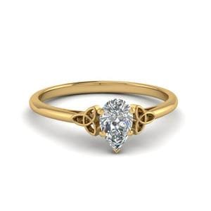 0.50 Carat Diamond Pear Shaped Irish Solitaire Engagement Ring In 18K Yellow Gold
