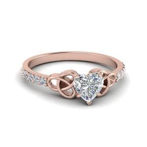 0.50 Carat Heart Shaped Diamond Irish Engagement Ring In 18K Rose Gold
