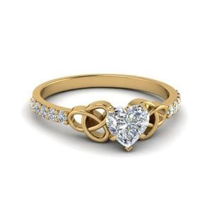 0.50 Carat Heart Shaped Diamond Irish Engagement Ring In 14K Yellow Gold