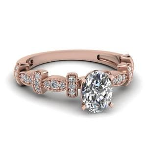 0.50 Carat Oval Diamond Milgrain Pave Engagement Ring In 14K Rose Gold