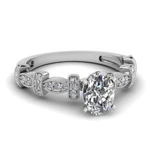 0.50 Carat Oval Diamond Milgrain Pave Engagement Ring In 18K White Gold