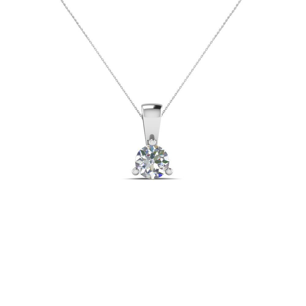 0.50 Ct. Single Round Diamond Pendant In 14K White Gold