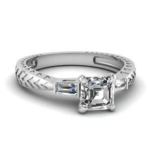0.50 Ct. Asscher Diamond Baguette 3 Stone Engagement Ring In 14K White Gold