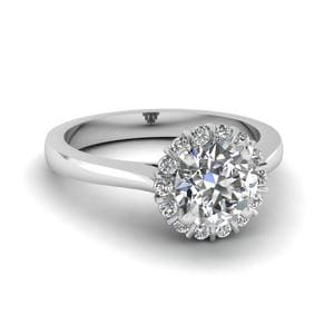 0.50 Ct. Diamond Flower Engagement Ring In 18K White Gold
