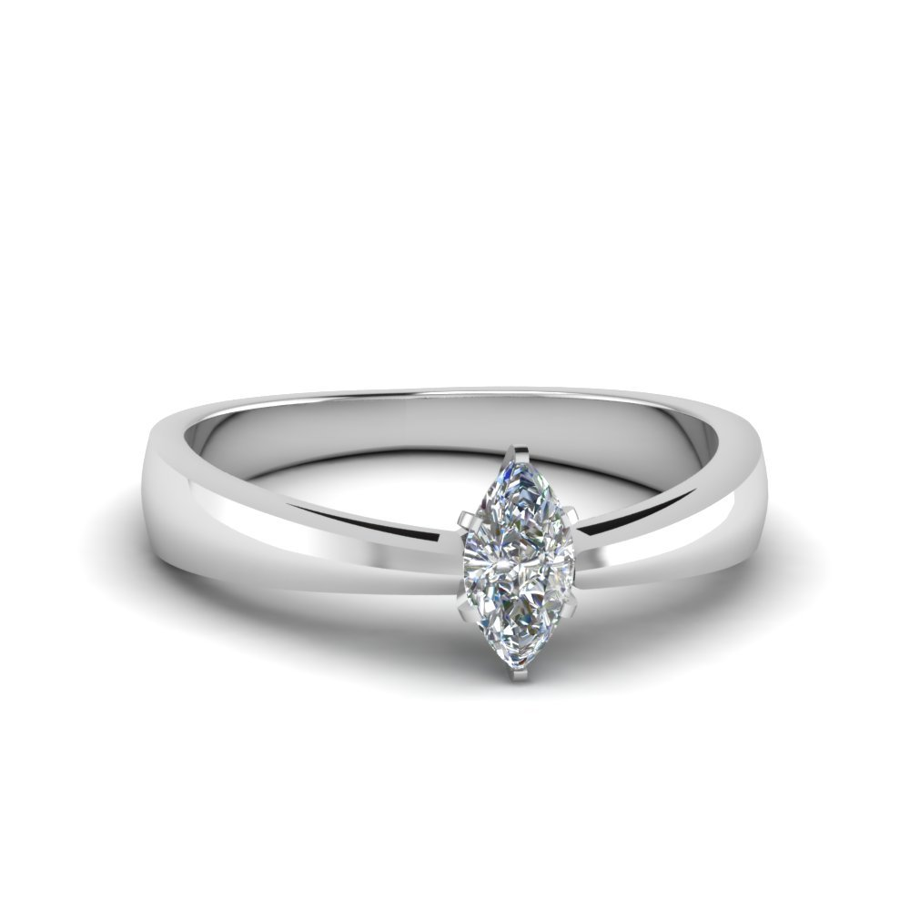 1/2 Ct. marquise Diamond Solitaire Tapered Ring