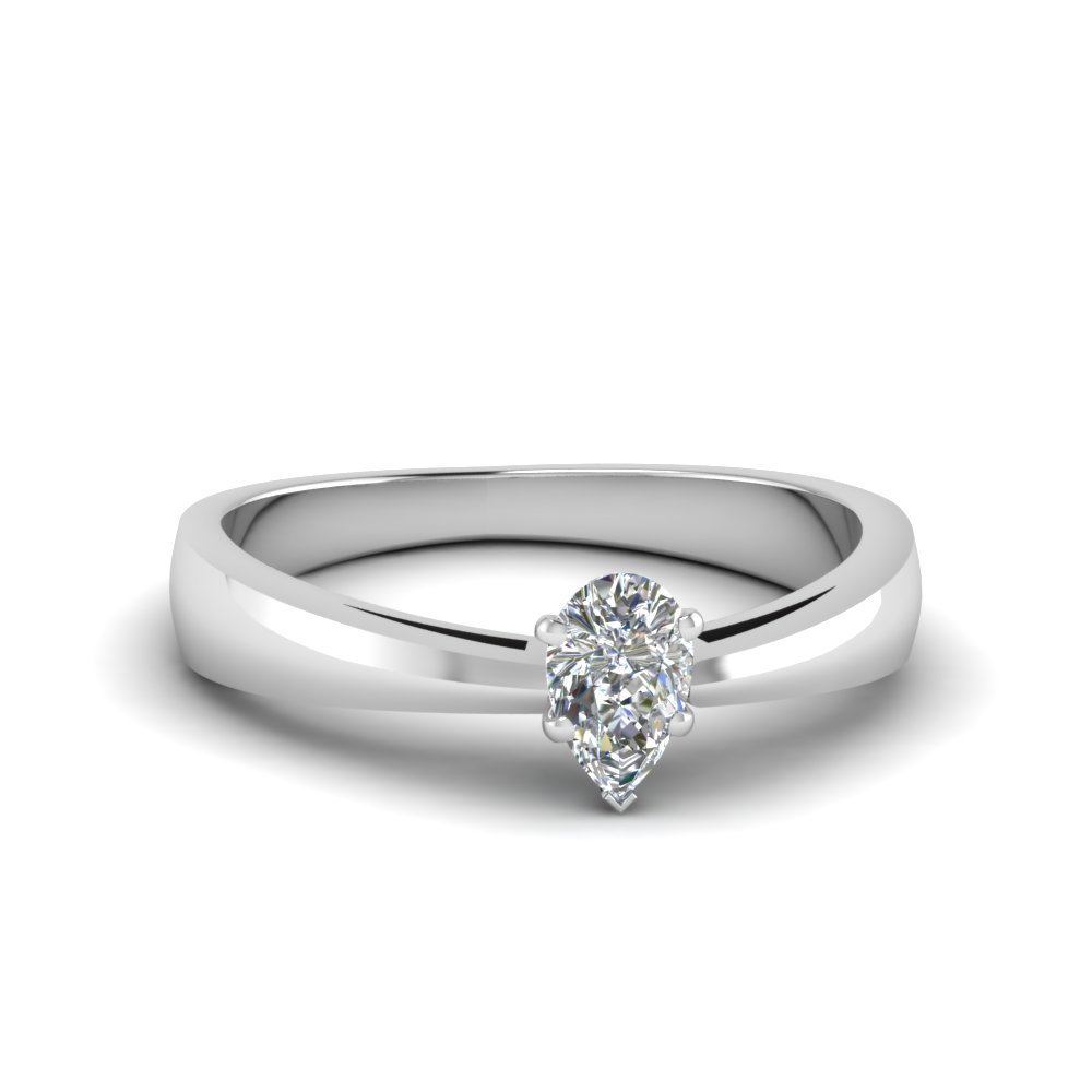 1/2 Ct. pear Diamond Solitaire Tapered Ring