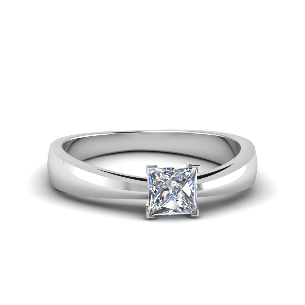 0.50 Ct. princess cut Diamond Solitaire Tapered Ring